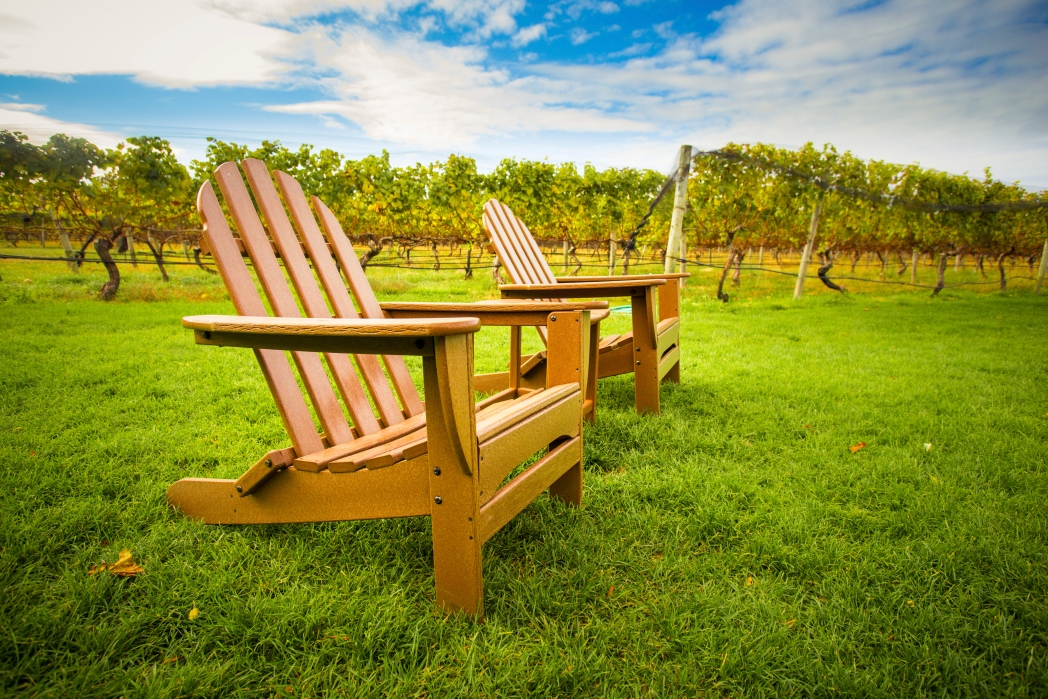 wooden chairs in front of vineyards