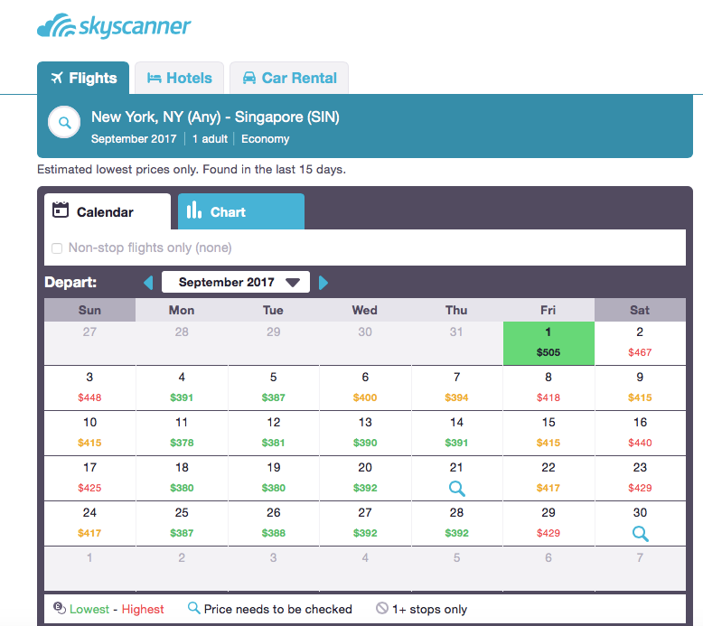 Skyscanner Whole Month Search