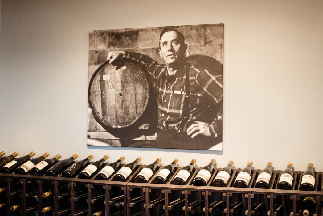 old photograph with wine bottles