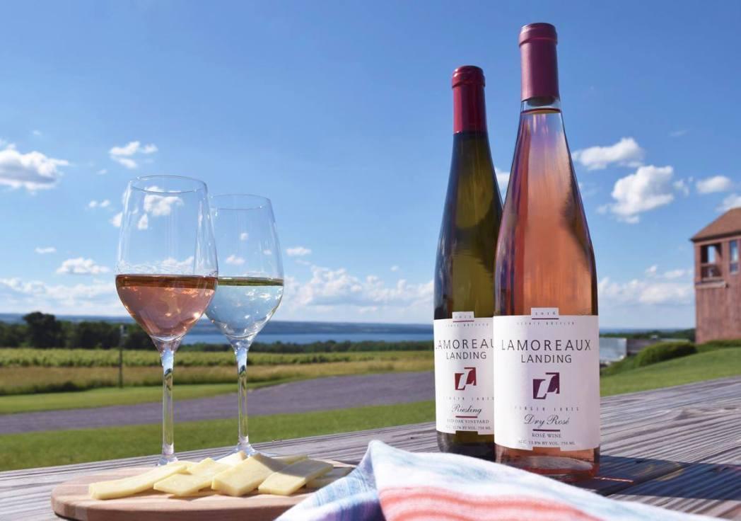 lamoreaux landing wine bottles and glasses