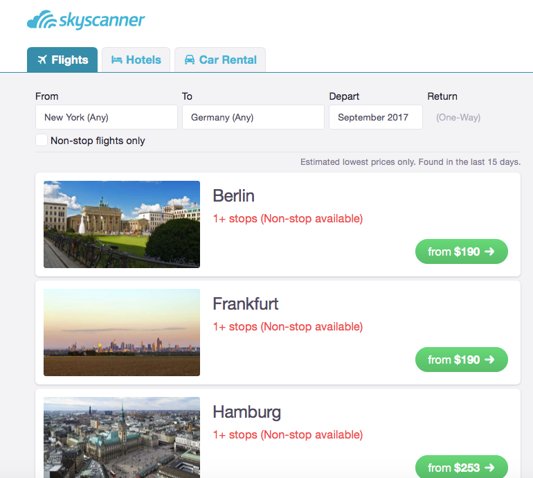 Skyscanner Whole Country Search